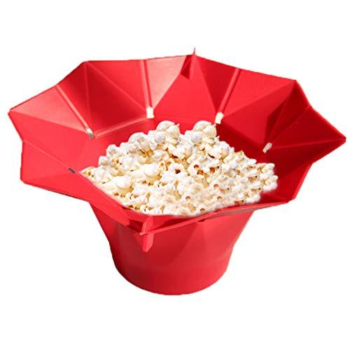 Mikrowellen Popcorn Maker aus Silikon Popcorn Schüssel Popcorn Popper Popkorn Behälter Popcorn selbst herstellen, Faltschale BPA und PVC-frei Popcorn Backschüssel für Party und Fest (Rot)