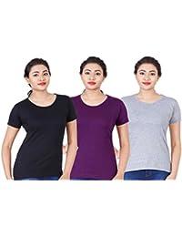 Fleximaa Women's Cotton Round Neck T-Shirt Plain (Pack Of 3) - Black, Purple & Grey Milange Colors.