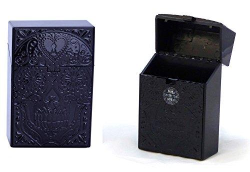 cigarrillos-caja-encendedor-case-pitillera-caja-de-plastico-para-19-21-cigarrillos-calavera-negro-va