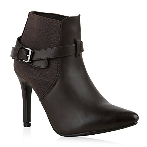 Damen Stiefeletten High Heels Stiletto Boots Lederoptik Schuhe Dunkelbraun