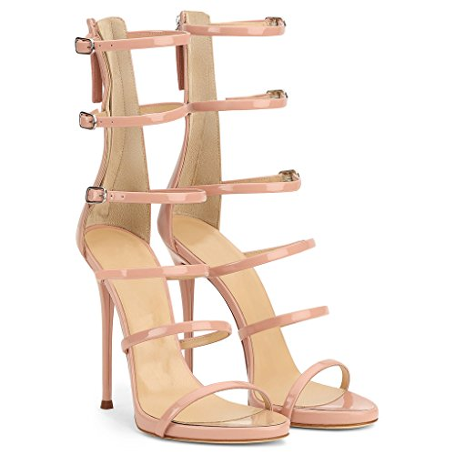EKS Damen Gladiator Thin Straps Stilettos High Heels Elegante Sandalen Party Sandals Nackt