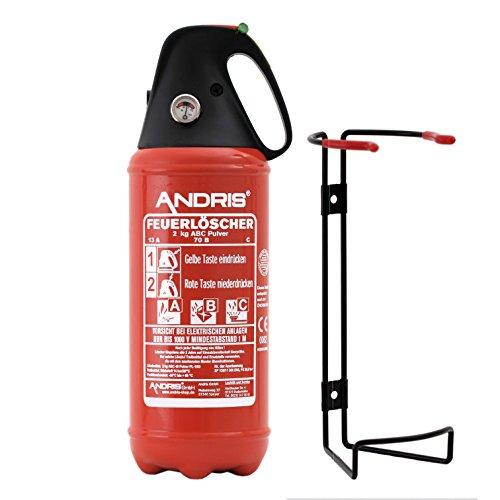 Auto Feuerlöscher 2kg ABC Pulver -sehr handlich- mit KFZ-Drahthalter &. Griffhaube DIN EN3