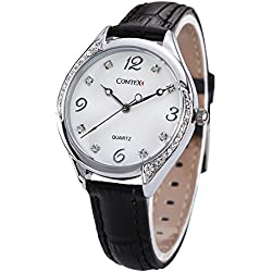 Comtex Ladies Watches with Black Leather Strap Large Dial Face Girls Watches