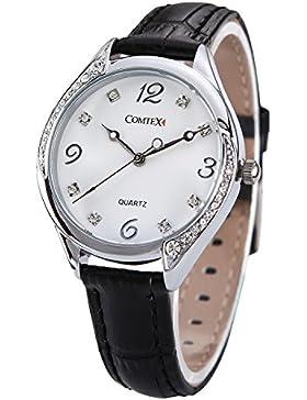 Comtex Damen -Armbanduhr mit Schwarz Leder Armband Große Zifferblatt Wasserdicht