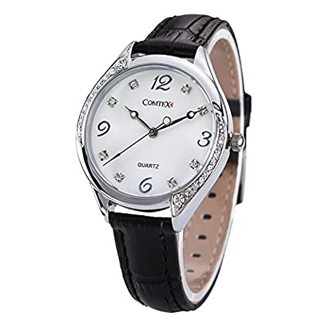 Comtex Ladies Watches with Large White Dial Face Black Leather