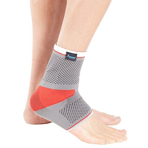 Actesso Sports Fußgelenk-Stützbandage mit Silikonpelotte (MittlerGröß Rot)- Erstklassige Unterstützung bei Zerrungen, Verstauchungen und Sportverletzungen