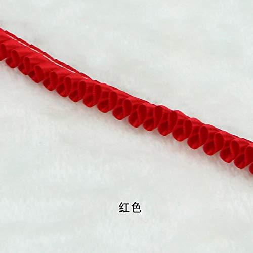 LIMMC 5Yards / Lot 1.5cm gefaltetes Band-weiße Spitze-Trimming Patchwork-Material DIY Fertigkeit Nähen und Kopfbedeckungen Accessoires Dekoration, Rot -