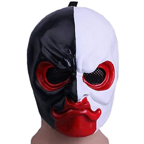 QQWE Spiel Ernte Tag 2 Narbe Gesichtsmaske Payday 2 Helm Maske Kopf Cosplay Halloween Weihnachten Maske Zeigen Kostüm Requisiten,A-OneSize (Payday 2 Cosplay Kostüm)