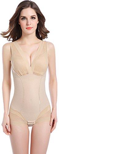 Frauen Shapewear Körper Briefer schlanker Ganzkörper Shaper Nahtlose Leichtgewicht Kleidungsstück Open Büste Shapewear Firm Control Bodysuit für Frau - VENAS (M, Beige) (Ganzkörper-kleidungsstück)