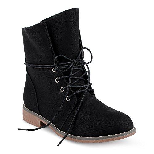 IL Shoes FiveSix Damen Stiefeletten Stiefel Blockabsatz Schnür Biker Boots Freizeit Schuhe Schwarz/gefüttert EU 39