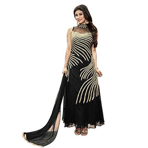 Fashion Storey Women's Georgette Semi-stitched Salwar Suit FS-10011, Black, Free Size