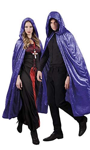 costumebakery - Erwachsene Frauen Männer Kostüm Hochwertiger Dracula Vampir Umhang mit Kapuze, Cape with Hood, perfekt für Halloween Karneval und Fasching, One Size, Lila