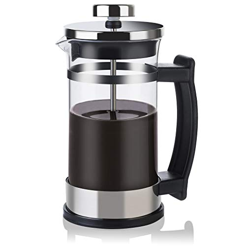 French Press Coffee Tea Maker Cafetiere Stainless Steel Plunger Coffee Maker with Heat Resistant Glass 350ml 12 oz