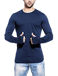 Try This T Shirts For Man Blue Full Sleeve Thumb-Hole Round Neck T-Shirt