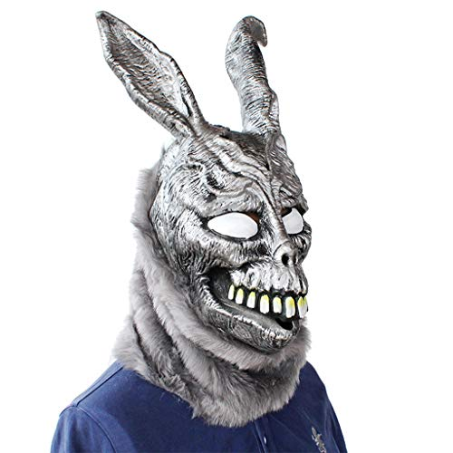 BaojunHT-Osterhasen-Maske Vollkopf Donnie Darko Halloween Cosplay Requisite Bunny Latex Kapuze mit Fell Kostüm, Schwarz, ()