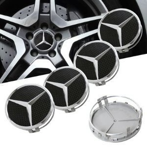 MERCEDES BLACK AMG ALLOY WHEEL CENTRE CAPS X 4 NEW RAISED CENTRE STYLE