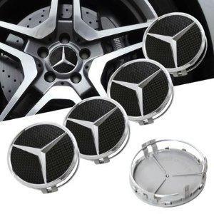 Preisvergleich Produktbild Radnabenkappen mit Mercedes Benz-Logo,  4 Stück,  schwarz,  75 mm,  für Leichtmetallfelgen - eMarkooz