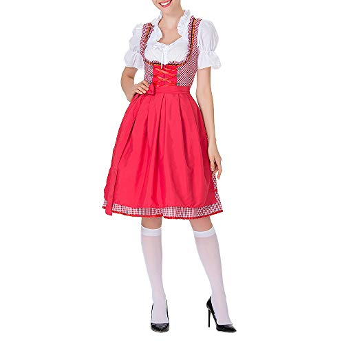 Dienstmädchen Kostüm Outfit - Vertvie Damen Kleid Oktoberfest bayerischen Bier Festival Festlich Traditional Cosplay kostüm Dirndl Dienstmädchen Outfit Kleidung Aufführung Rolle Spielen (Rot, S)