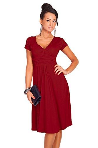 Futuro Fashion Damen Elegant V-ausschnitt Kurzärmlig Knie Länge Wickelkleid Viskose mit Baumwolle 8416 Carmesí