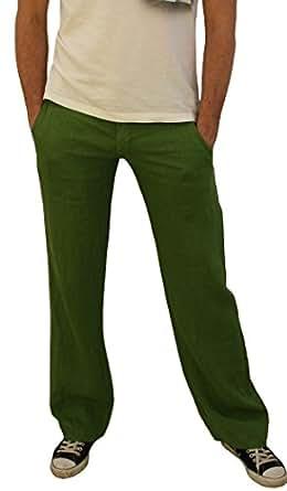 08139 PERANO Herren Jungen Leinen Hose, 100% Leinen, grün 50/M.