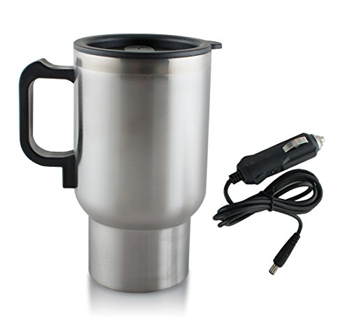 Preisvergleich Produktbild 12V Electric Car Coffee Mug Cup Warmer Stainless Steel Travel Kettle Cup Heated Cooker 450 ML