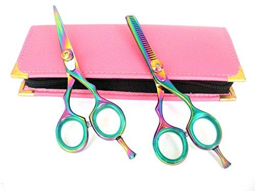 Professionnels Ciseaux de coiffure & Ciseaux Barber Salon de coiffure Ciseaux de coupe de cheveux plus 14 cm Rasoir en acier japonais avec étui en titane