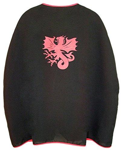 (Das Kostümland Ritter Umhang mit Wappen Drache Schwarz Rot)