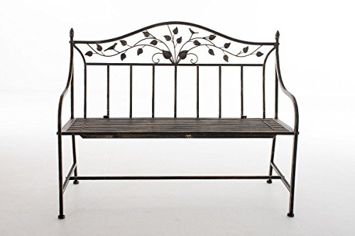 CLP Gartenbank ABIONA im Landhausstil, Eisen lackiert (Metall) ca 110 x 50 cm Bronze - 2