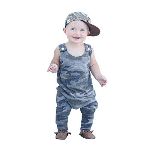 Wawer Baby Boy Strampler Jungen Bekleidungssets Neugeborene Kinder Outfits Kleidung Sleeveless Camouflage Strampler Overall Pyjamas (6Month-24Month) (Armeegrün, 24Monate)