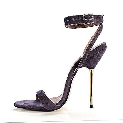 Sandalen weiblichen Sommer Einfache fein mit Stahl Absatzhöhe - Ferse Schuhe, dunkelgrau Stretch (Dark Pink Suede Schuhe)