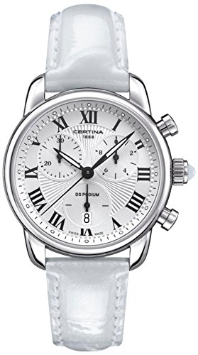 Certina C025.217.16.018.01 - Reloj para mujeres, correa de cuero color blanco