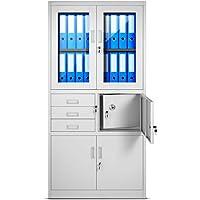Archivador C18S, mueble de oficina con caja de seguridad, puertas abatibles de vidrio 185