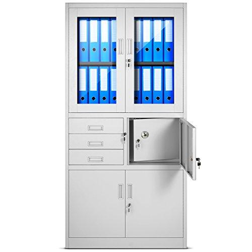 Archivador C18S, mueble de oficina con caja de seguridad, puertas abatibles de vidrio 185 cm x 90 cm x 40 cm...