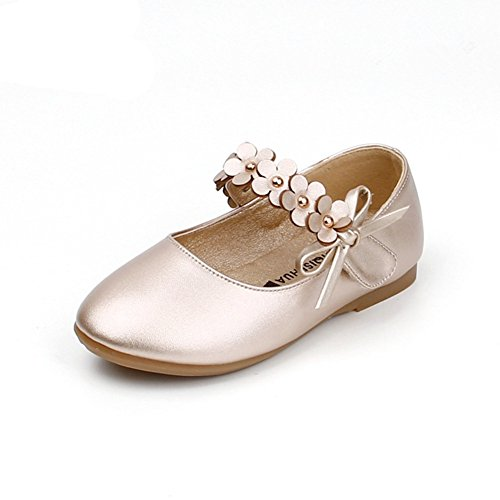 Nett Mädchen Blumen Klettband Tanzschuhe Prinzessinschuhe Gold - 2