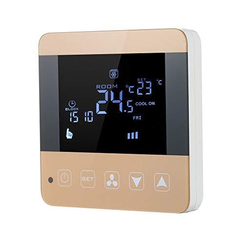 Blusea 200-230V programmierbarer Thermostat Klimaanlage 2-Rohr 4-Rohr-Temperaturregler LCD-Touchscreen Luftheizung Zustand Temp Control Unterboden 3A 7-Tage 4-Programming Hintergrundbeleuchtung -