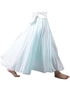 Juleya 20 Colores Faldas Maxi Mujer Falda de Lino Algodón Doble Capa Faldas Largas Falda de Cintura Alta Suave...