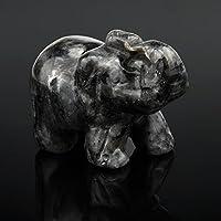 Mamum Jade Elefanten 1,5 Zoll, 1pcs Hand Elefant Jade Edelstein ornat Handwerk Briefbeschwerer (e) geschnitzt