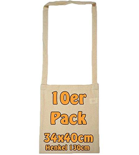 Cottonbagjoe Baumwolltasche Umhängetasche unbedruckt mit extra langem Henkel ideal als Kamellebeutel für Wurfmaterial oder als Sammelbeutel für Karneval (Natur, 10 Stück)
