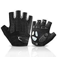 ROCK BROS Road Cycling Gloves for Men Women Commuter Gloves Half Finger Biking Gloves with Gel Padded Shock Absorbing, Breathable Anti Slip Road Bike Gloves for Summer Bicycling Riding Gray-M