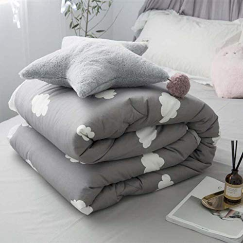 JING Pink Lake-Like Goose Down Cotton Double Quilt,Gray,S -