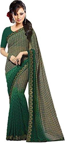 Hinayat Fashion Chiffon Saree With Blouse Piece (NHT01SRI542_Green_Free Size)
