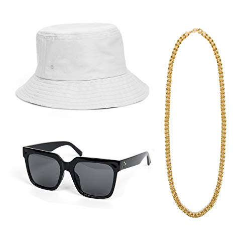 Jahre 90er Kostüm Party Hip Hop - NUWIND 3-teiliges 80er 90er Jahre Hip Hop Kostüm Accessoires Kit - Melone Hut Gold Kette DJ Sonnenbrille Retro Stil Coole Rapper Party Outfits (Weiss)