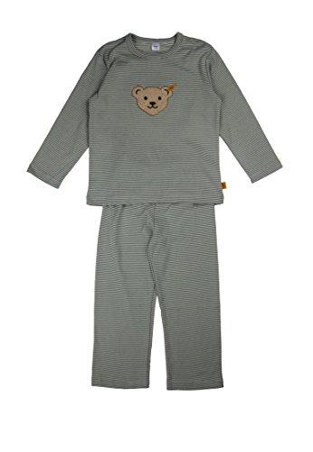 Steiff Baby - Jungen Zweiteiliger Schlafanzug 2Tlg. T-Shirt 1/1 Arm Und Hose Lang, Gestreift, Gr. 104, Grün (Lily Pad Oliv 5111)