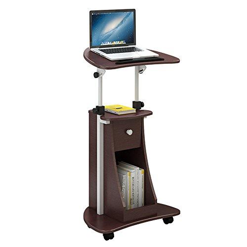 Tische MEIDUO Sitz-zu-Stand Rolling Verstellbare Höhe Mobile Stand Laptop Schreibtisch Wagen mit Storage Office 4 Farben Computertisch (Farbe : Schokoladen-Farben) (Einzelne Schreibtische Workstation)