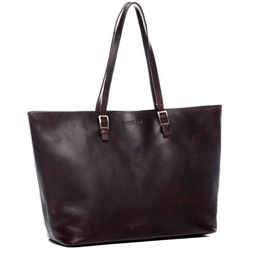 FEYNSINN® Laptoptasche GRACE - Damen Umhängetasche groß Ledertasche fit 15,4 Zoll Laptop mit Extra-Abtrennung- Businesstasche Damentasche echt Natur-Leder hellbraun-cognac