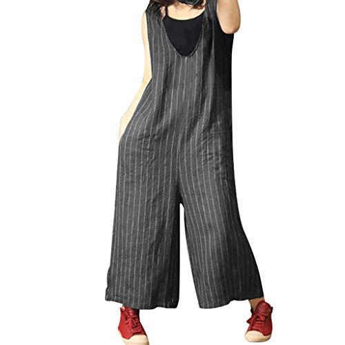 UFODB Damen Jumpsuit Sommer Oversize S-5XL, Frau Latzhose Striped Print Leinen Loose Mode Wide Leg Playsuits ärmellos Dungarees Leinen-Hose Lang Hose - Dungaree Hose