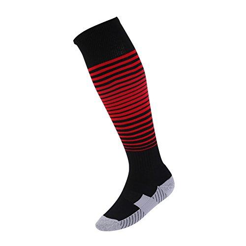 Über dem Kalb Fußball Boot Socken Wingbind Feuchtigkeitstransport Team Athletic Baseball Boot Socken Softball Tubes Softball Sport Strumpf für Frauen und - Männer-schwarz Für Kalb-socken über Das