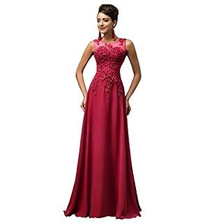 10710ab2f830 Lange Damen Abendkleider Ballkleider Partykleider Ärmellos Chiffon Kleid  für Hochzeit Brautjungfer- Gr. 48,