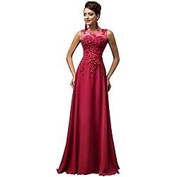 GRACE KARIN Vestidos Rojo Oscuro Mujeres Vestidos Elegante para Boda Prom Talla 46