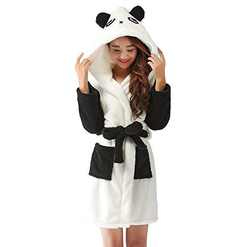 Damen Bademantel Saunamantel MorgenmantelPyjama Nachtwäsche Tier Panda mit Kapuze Mittellang flauschig niedlich für Kostüm Fasching Party (Panda, S) (Weiß Flanell-pyjama)